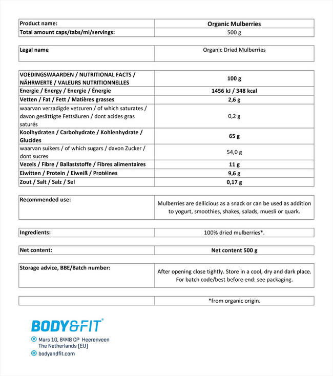 Mulberry Organic Nutritional Information 1