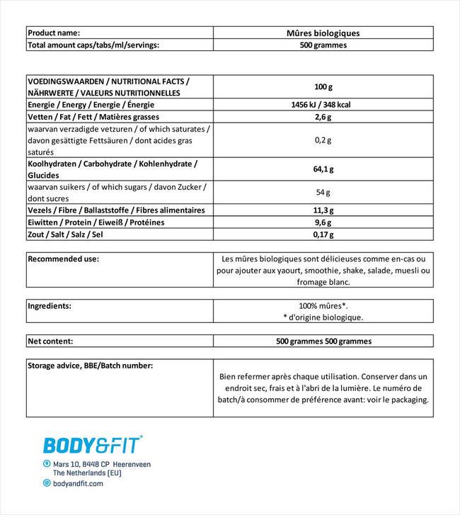Mûres bio Mulberry Organic Nutritional Information 1