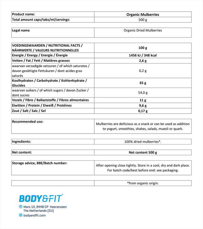 マルベリーオーガニック Nutritional Information 1