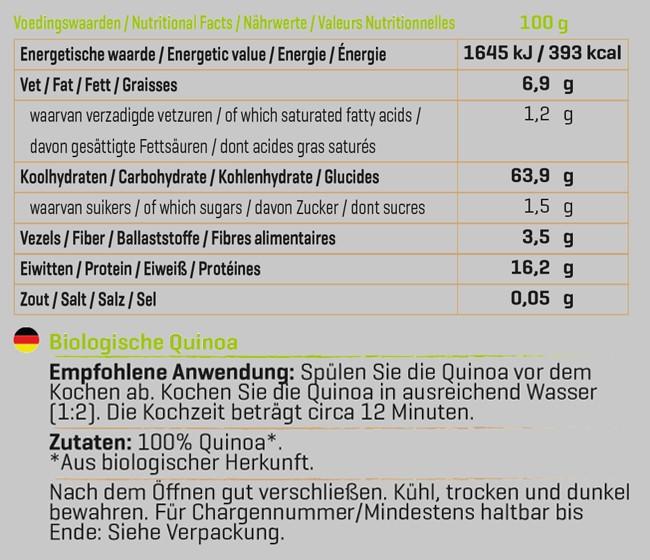 Quinoa Biologisch Nutritional Information 1