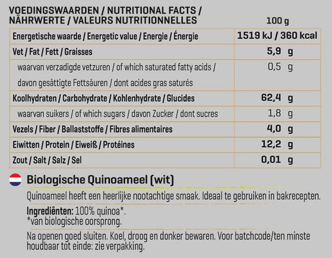 Quinoa Wit Biologisch Nutritional Information 1