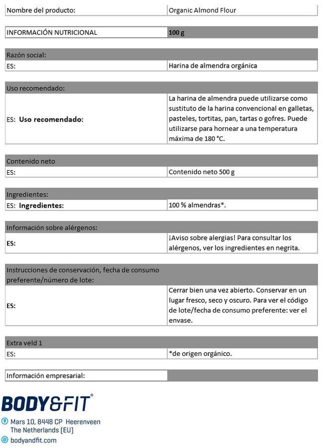 Harina De Almendras Orgánica Nutritional Information 1