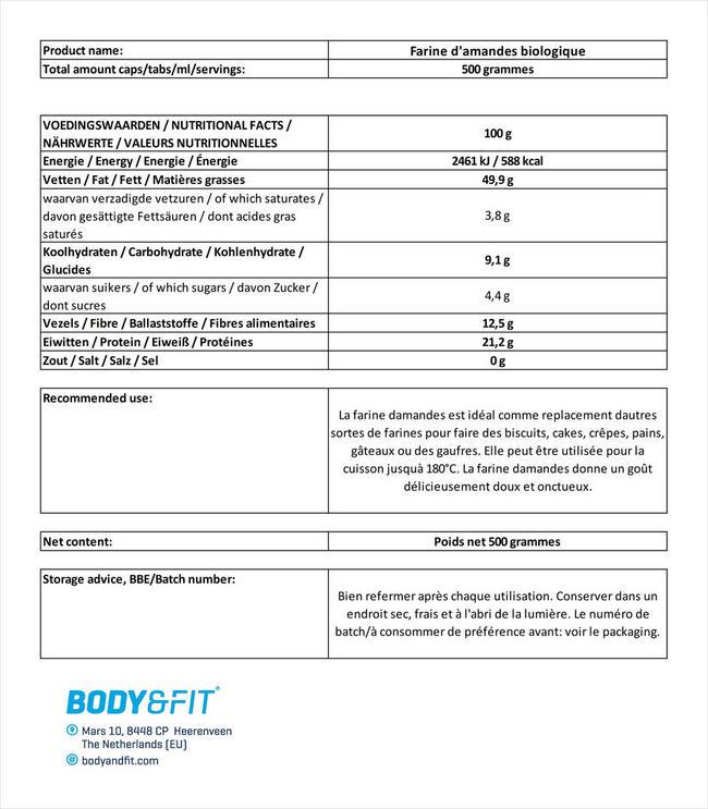 Poudre d'amande biologique Nutritional Information 1