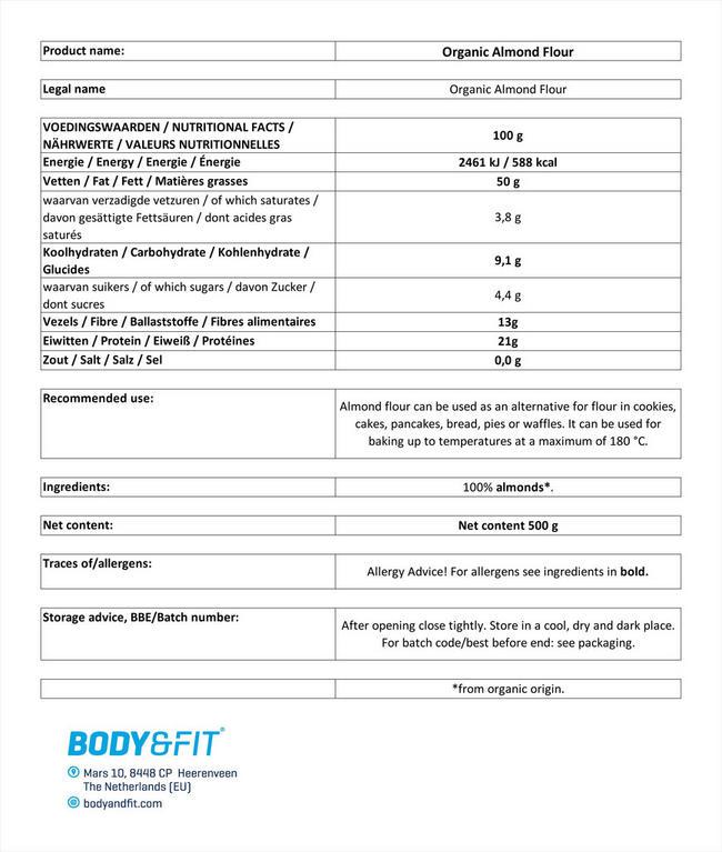 オーガニックアーモンドフラワー Nutritional Information 1