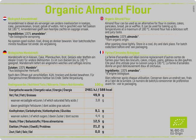 Amandelmeel Biologisch Nutritional Information 1