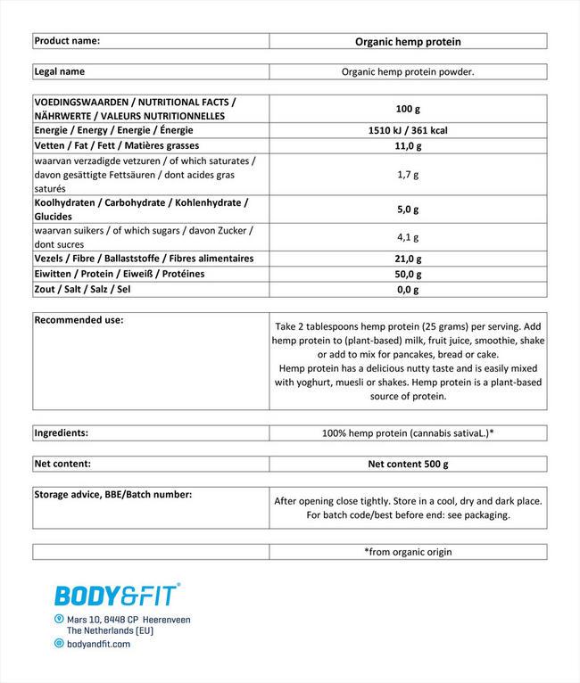 ヘンププロテインオーガニック Nutritional Information 1