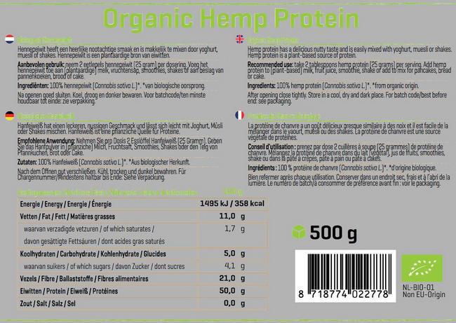 Hennepeiwit Biologisch Nutritional Information 1