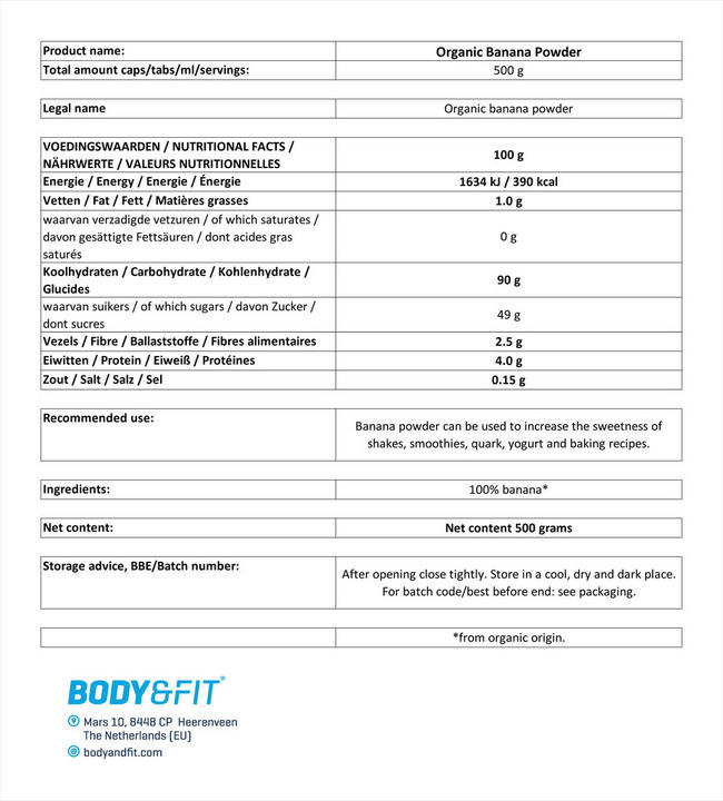 Bananenpoeder Biologisch Nutritional Information 1