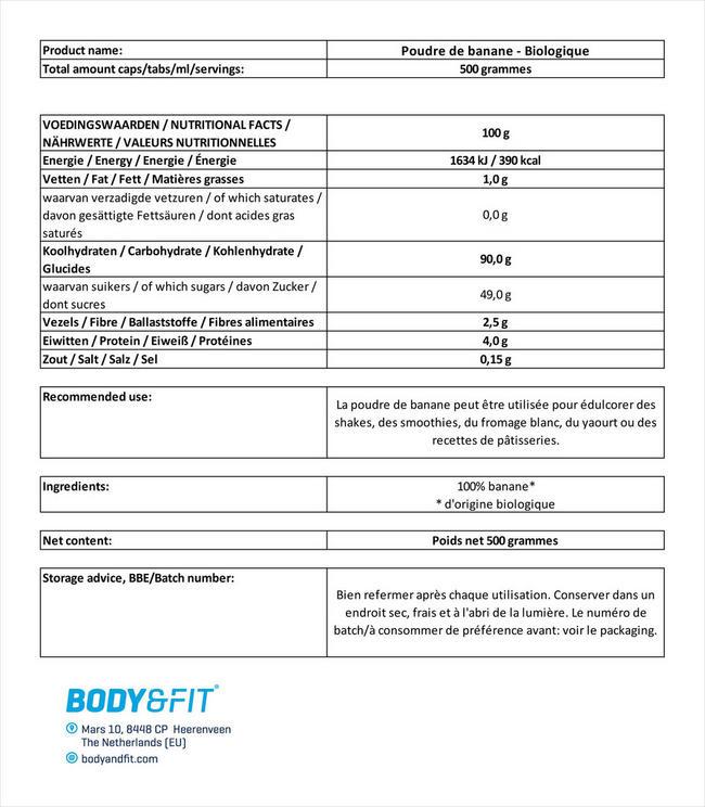 Banane en poudre bio Organic Banana Powder Nutritional Information 1
