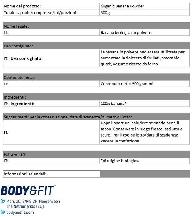Polvere di Banana Bio Nutritional Information 1