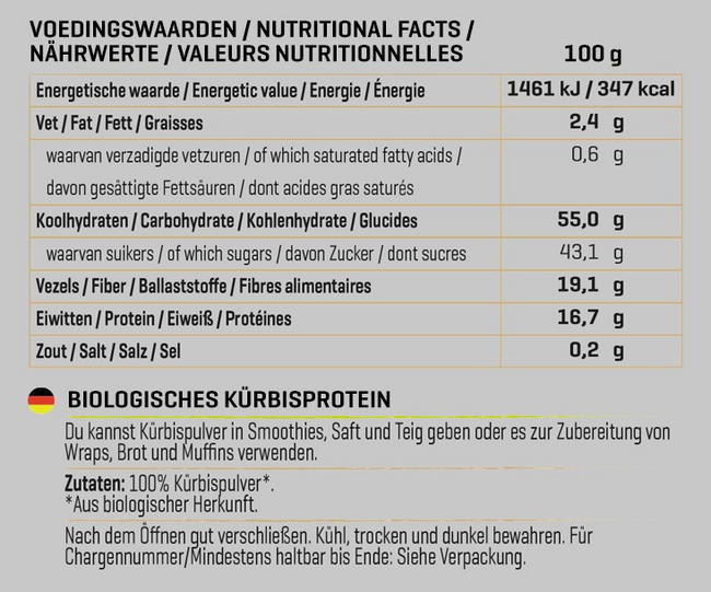 Biologisches Kürbispulver Nutritional Information 1