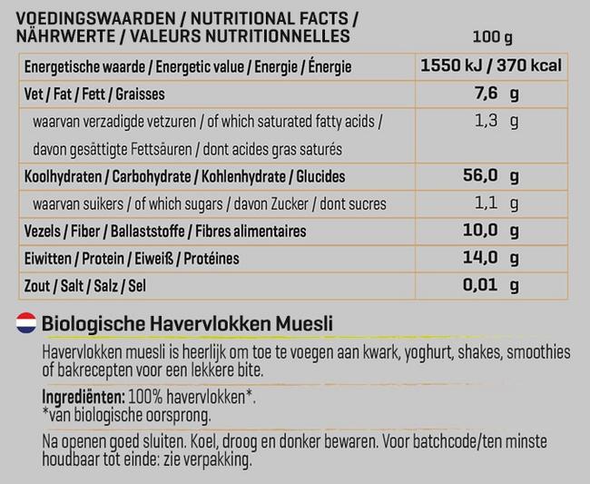 Oat Flakes Müsli Biologisch Nutritional Information 1