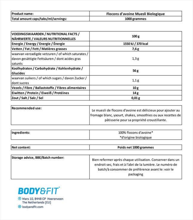 Flocons d'avoine Muesli Biologique Nutritional Information 1