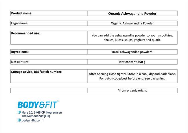 Ashwagandha Powder Organic Nutritional Information 1