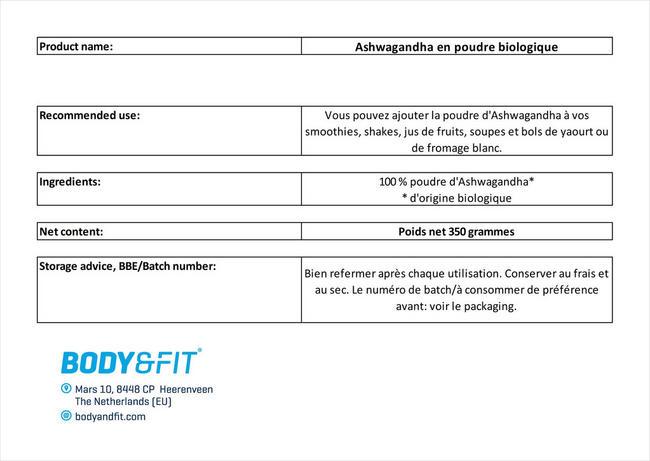 Ashwagandha en poudre biologique Nutritional Information 1
