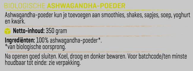 Ashwagandha Poeder Biologisch Nutritional Information 1