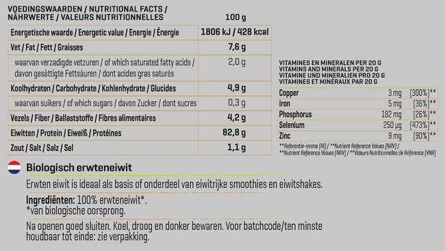Protéine de pois biologique Nutritional Information 1