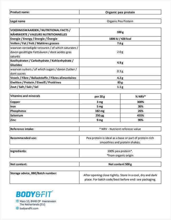 Biologisches Erbsenprotein Nutritional Information 1