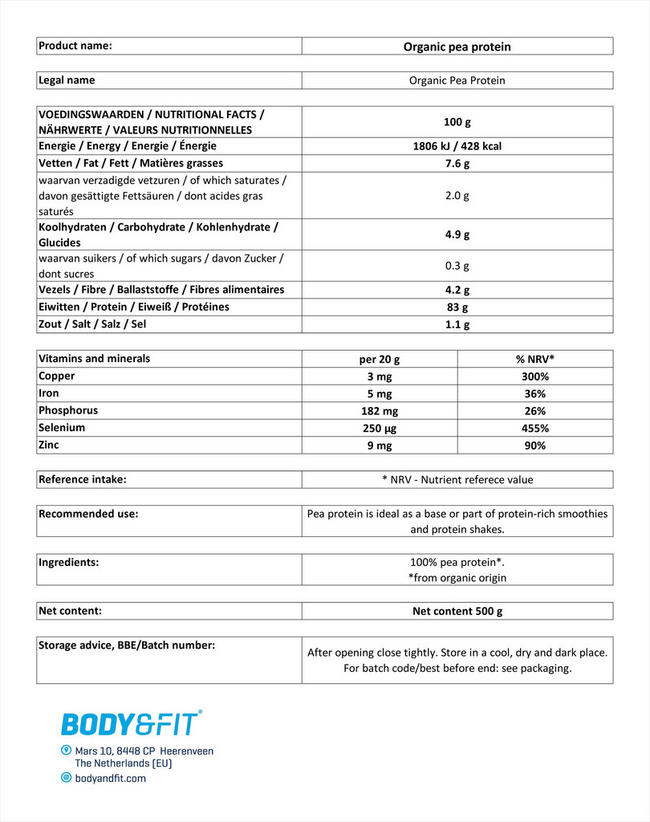 ピープロテイン オーガニック Nutritional Information 1