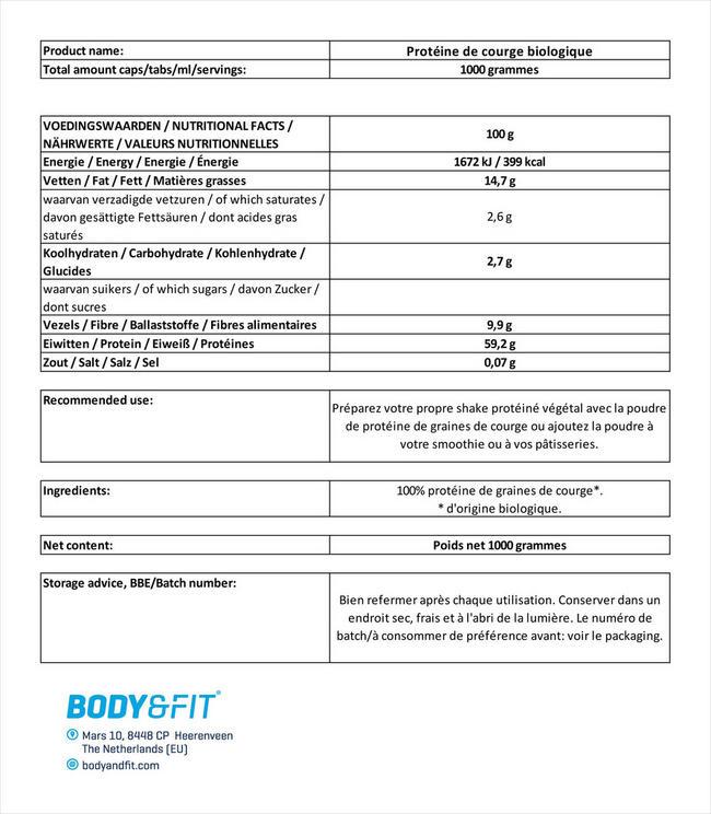 Protéine de courge biologique Nutritional Information 1