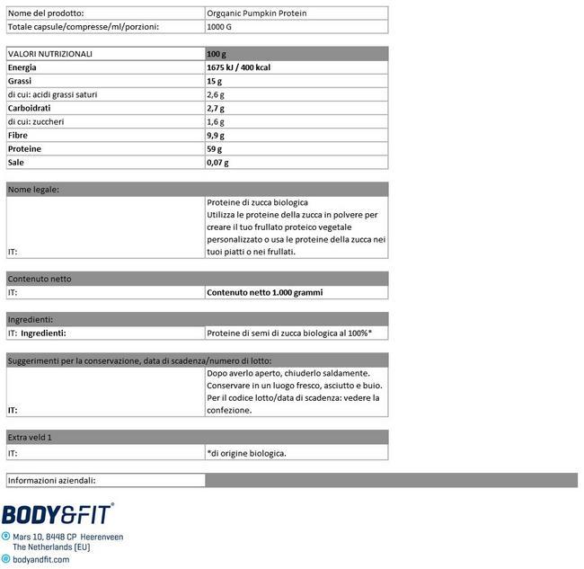 Proteine della Zucca Bio Nutritional Information 1