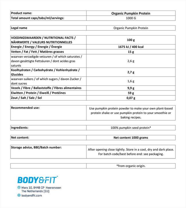 パンプキンプロテイン オーガニック Nutritional Information 1
