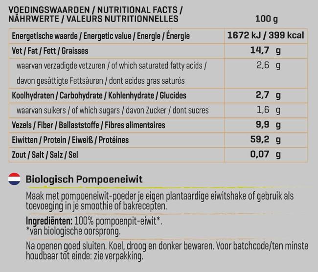Pompoen Eiwit Biologisch Nutritional Information 1