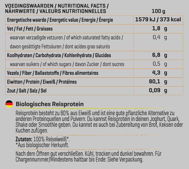 Biologisches Reisprotein Nutritional Information 1