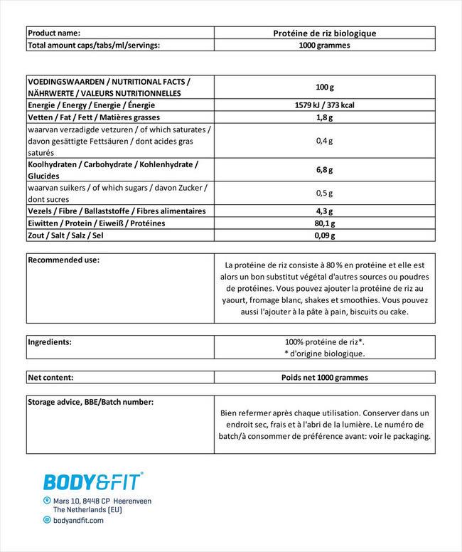 Protéine de riz biologique Nutritional Information 1