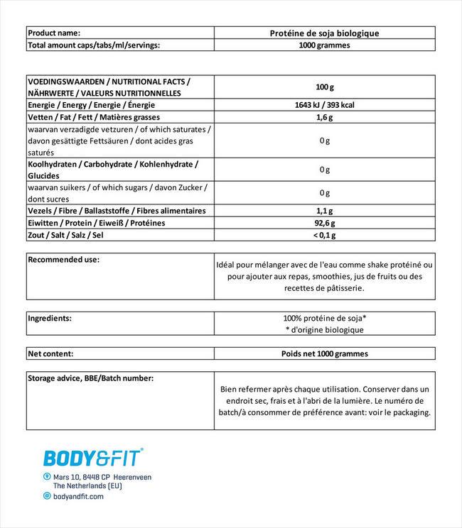Protéine de soja biologique Nutritional Information 1