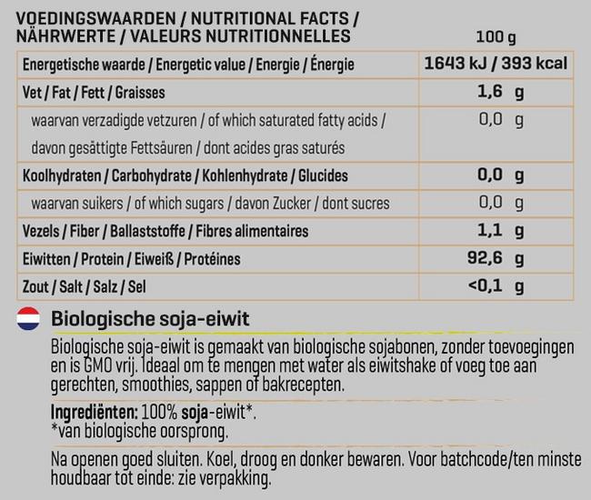 Soja Eiwit Biologisch Nutritional Information 1