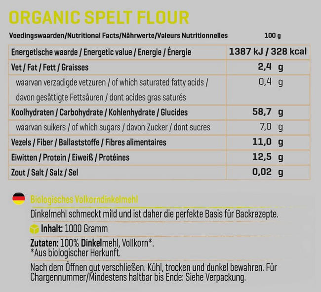Biologisches Dinkelmehl Nutritional Information 1