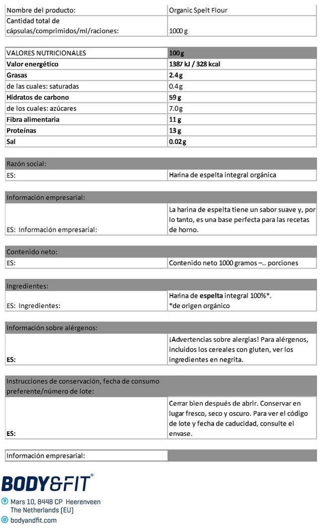 Harina De Espelta Orgánica Nutritional Information 1