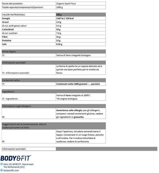 Farina di Farro Biologica Nutritional Information 1