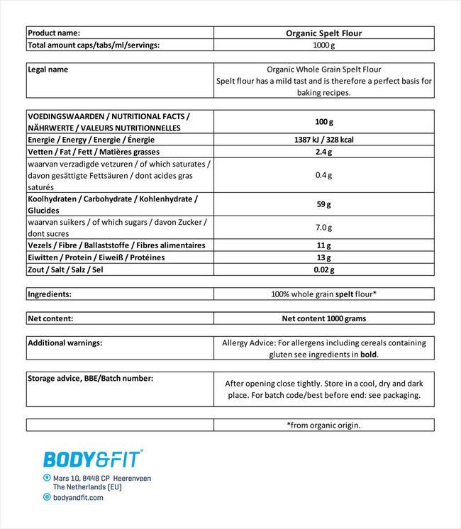 Speltmeel Biologisch Nutritional Information 1