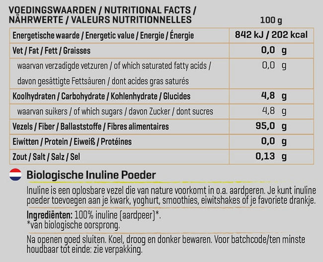 Poudre d'inuline biologique Nutritional Information 1