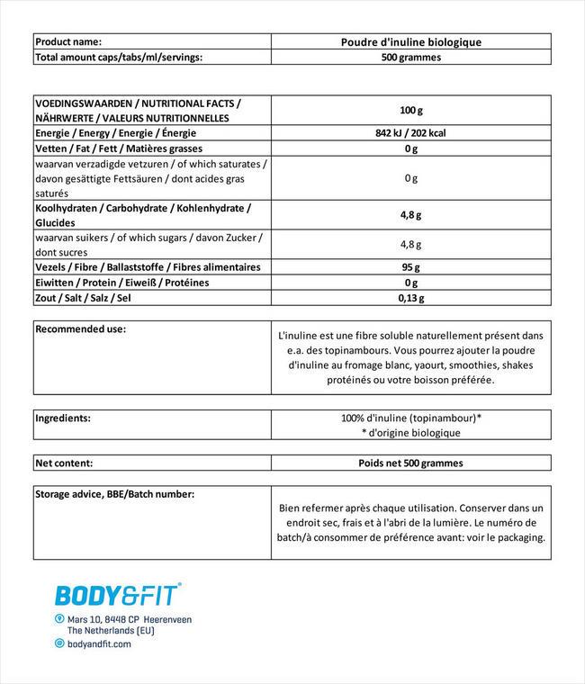 Poudre d'inuline biologique Nutritional Information 3