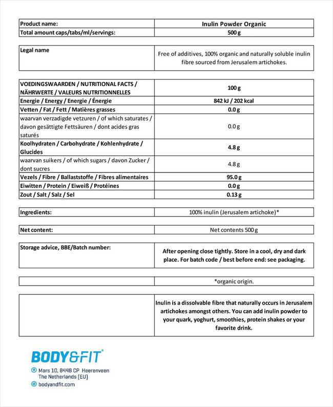 Biologisches Inulinpulver Nutritional Information 1