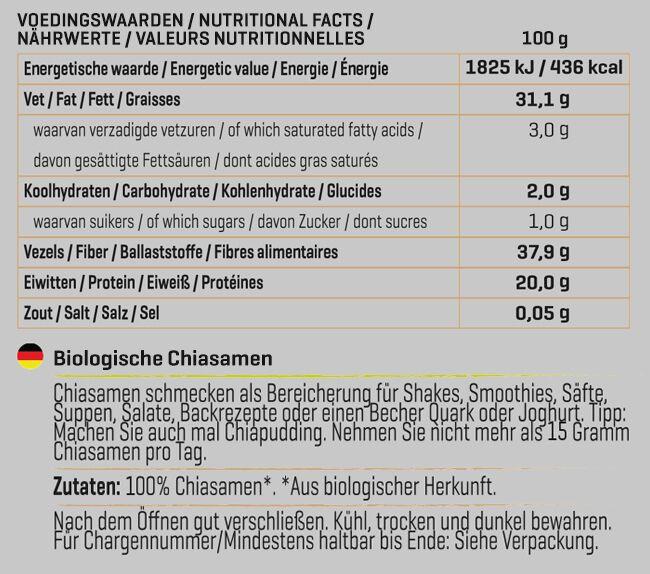 Biologische Chiasamen Nutritional Information 1