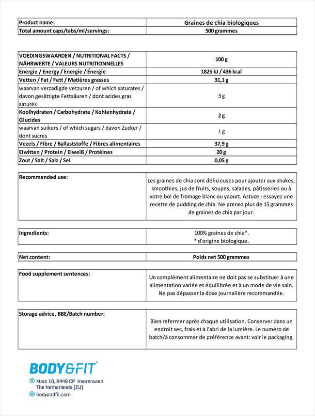 Graines de chia bio Chia Seeds Organic Nutritional Information 1