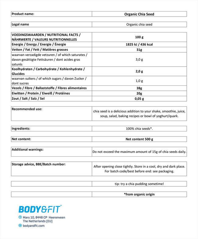 チアシードオーガニック Nutritional Information 1