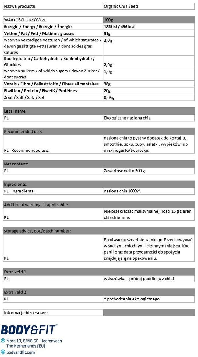 Ekologiczne nasiona chia Nutritional Information 1
