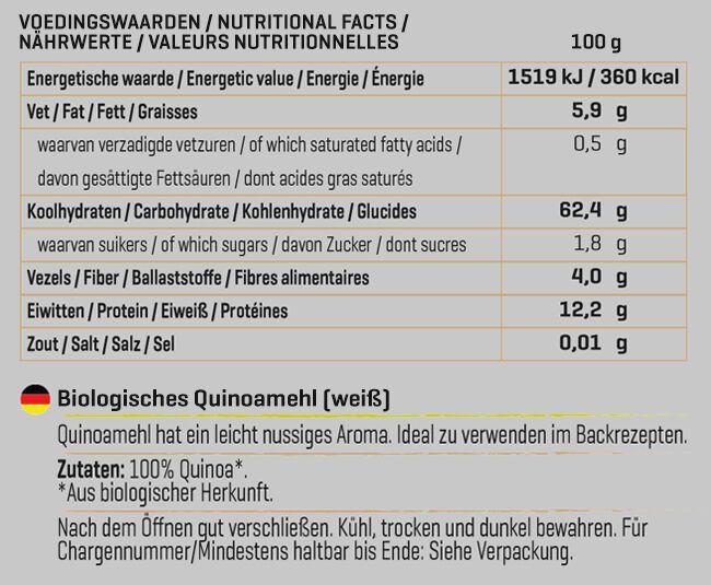 Biologisches Quinoamehl Nutritional Information 1