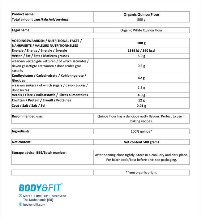 キノアフラワー オーガニック Nutritional Information 1