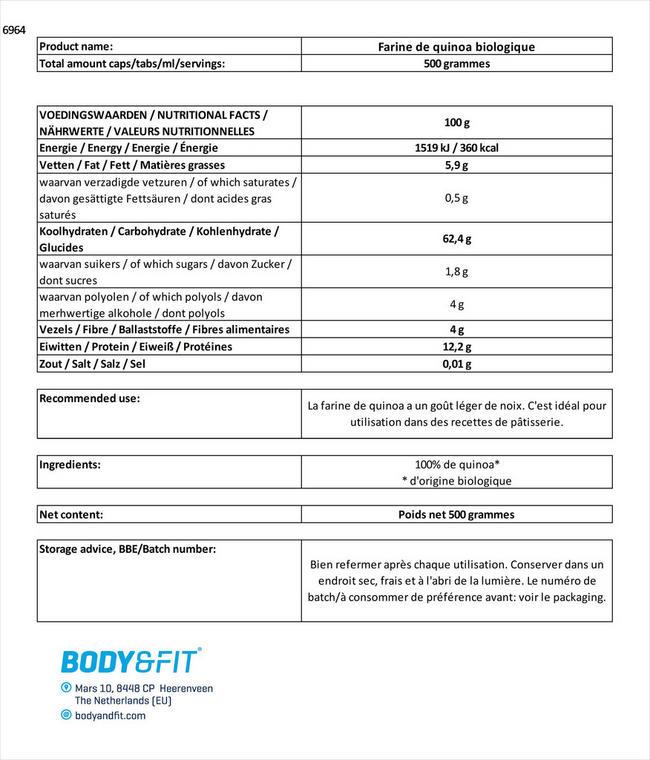 Quinoa Meel Biologisch Nutritional Information 1