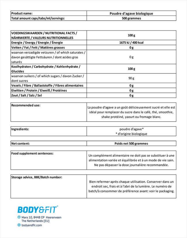 Poudre d'agave biologique Nutritional Information 1