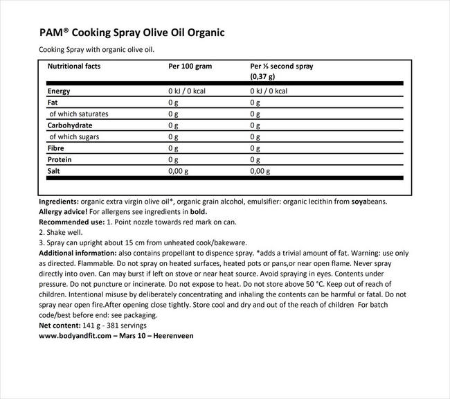 Cooking Spray Olive Oil Organic Nutritional Information 1