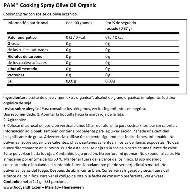 Aceite de Oliva Spray para Cocinar (Orgánico) Nutritional Information 1