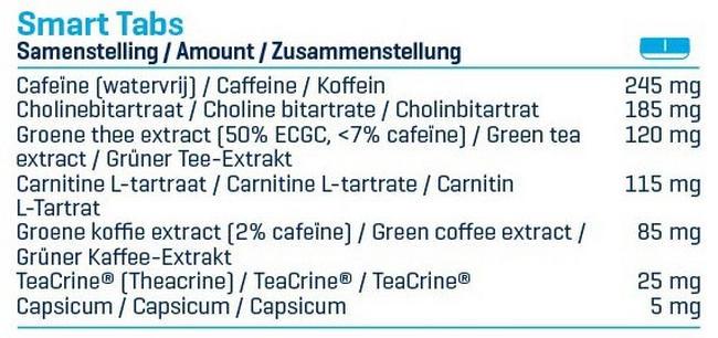 스마트 탭스 Nutritional Information 1