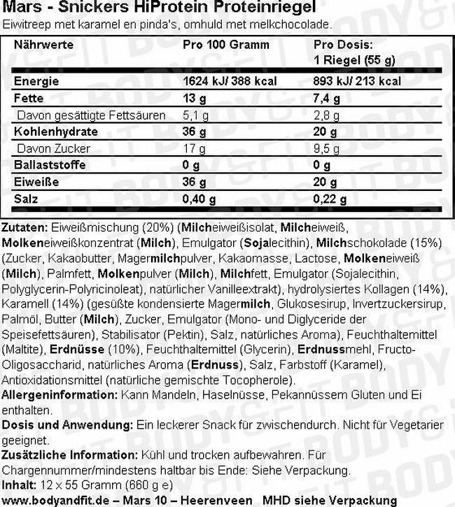 Snickers Hiprotein Proteinriegel - Box (12X55g) Nutritional Information 1